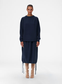 Cashmere Sweater Balloon Skirt Navy Blue-1