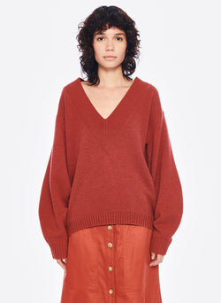 Airy Extrafine Wool Sweater V-Neck  Pullover Dusty Red-1