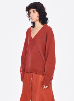 Airy Extrafine Wool Sweater V-Neck  Pullover Dusty Red-2