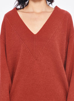 Airy Extrafine Wool Sweater V-Neck  Pullover Dusty Red-4