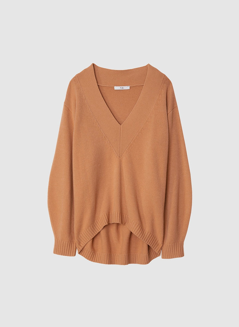 Airy Extrafine Wool Sweater V-Neck  Pullover Light Burlywood-14