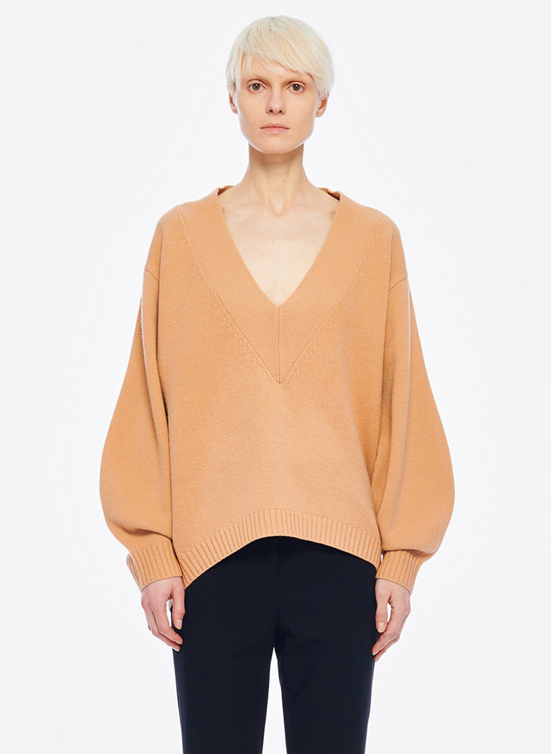 Airy Extrafine Wool Sweater V-Neck  Pullover Light Burlywood-8