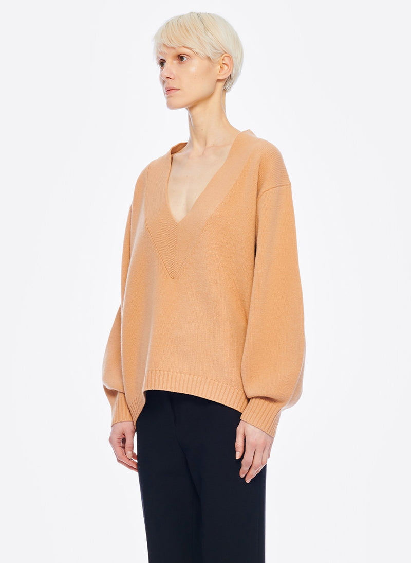 Airy Extrafine Wool Sweater V-Neck  Pullover Light Burlywood-9