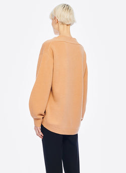 Airy Extrafine Wool Sweater V-Neck  Pullover Light Burlywood-10