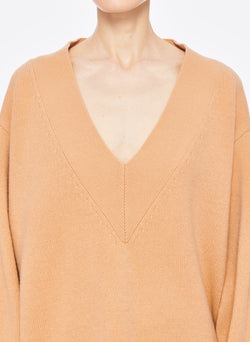 Airy Extrafine Wool Sweater V-Neck  Pullover Light Burlywood-11