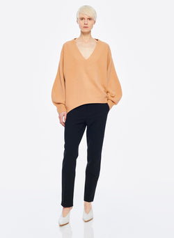 Airy Extrafine Wool Sweater V-Neck  Pullover Light Burlywood-12