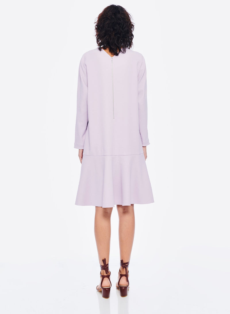 Chalky Drape Square Neck Dropwaist Dress Lavender-3