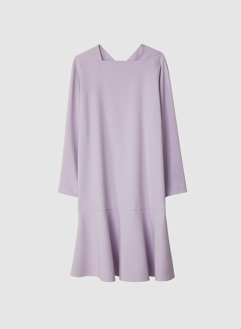 Chalky Drape Square Neck Dropwaist Dress Lavender-7