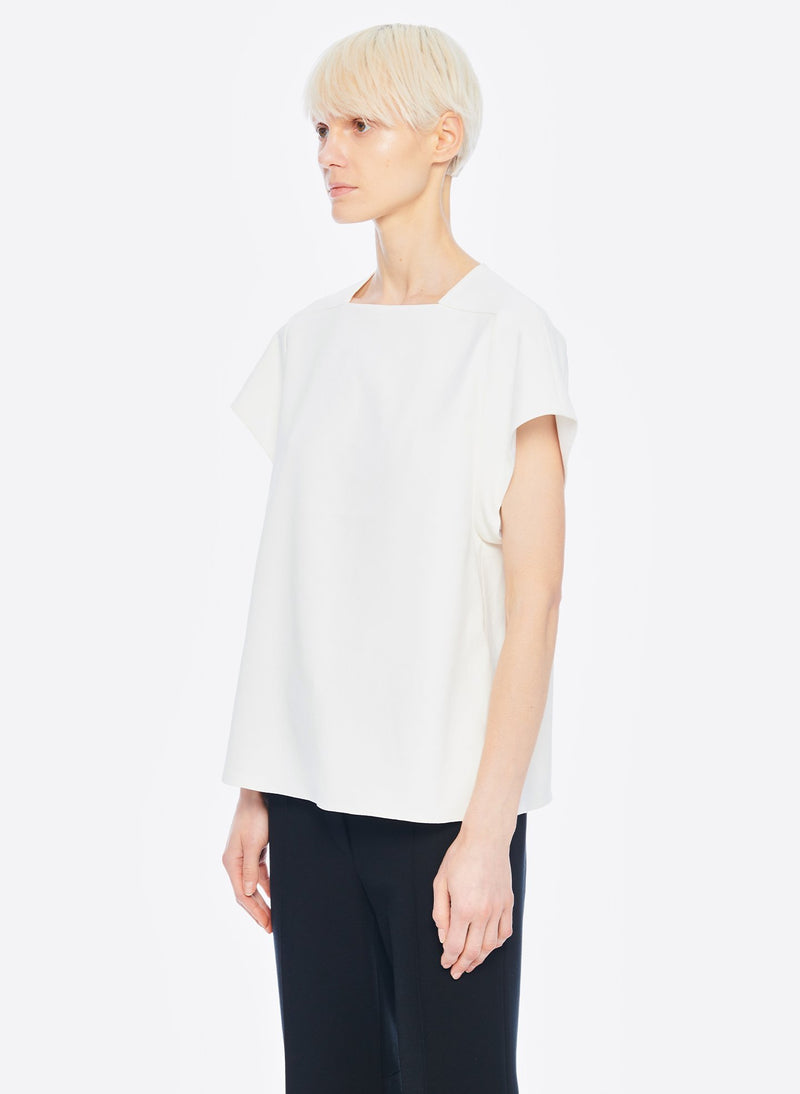 Chalky Drape Square Neck Sleeveless Top Ivory-2