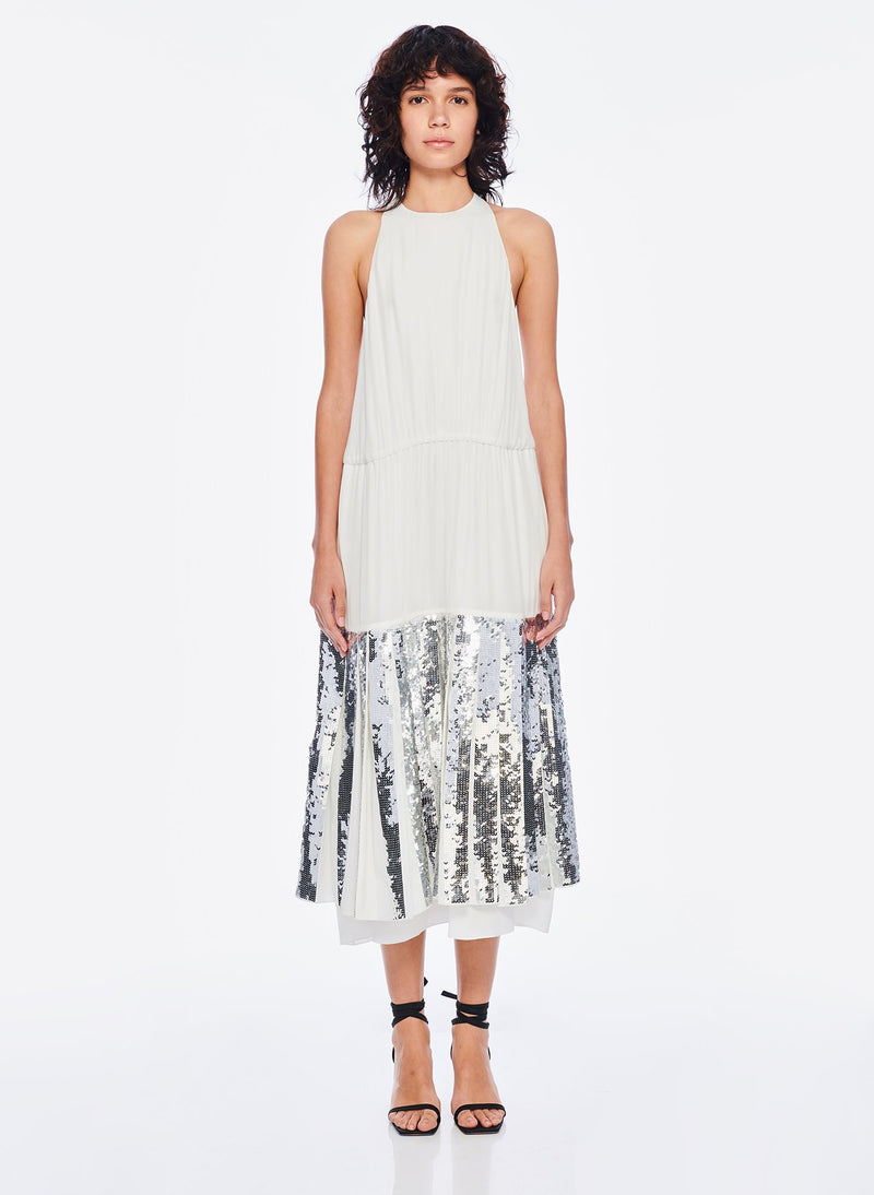 Claude Sequins Layered Halter Dress Ivory/Silver Multi-1