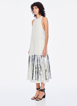 Claude Sequins Layered Halter Dress Ivory/Silver Multi-2
