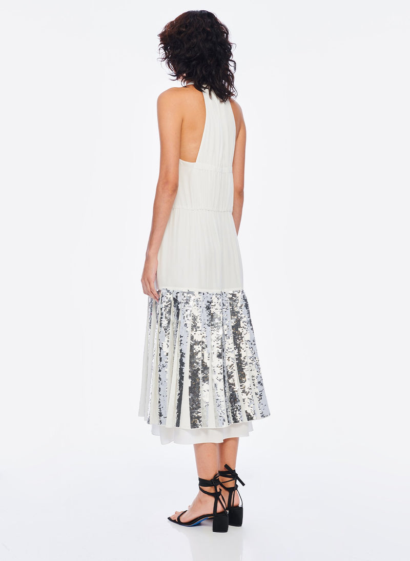 Claude Sequins Layered Halter Dress Ivory/Silver Multi-3