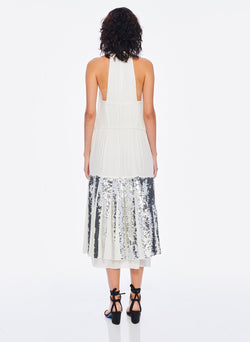 Claude Sequins Layered Halter Dress Ivory/Silver Multi-4