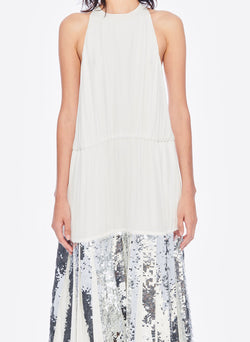 Claude Sequins Layered Halter Dress Ivory/Silver Multi-5