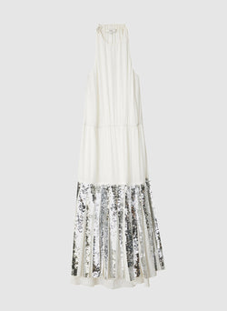 Claude Sequins Layered Halter Dress Ivory/Silver Multi-7