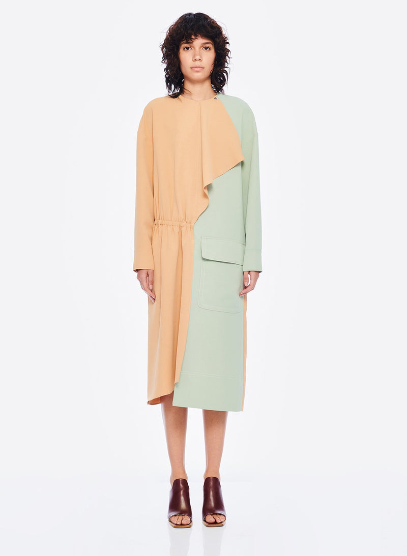 Drape Twill Colorblock Dress Light Burlywood/Pistachio Multi-1