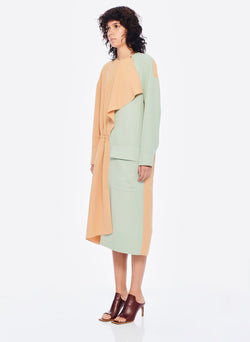 Drape Twill Colorblock Dress Light Burlywood/Pistachio Multi-2