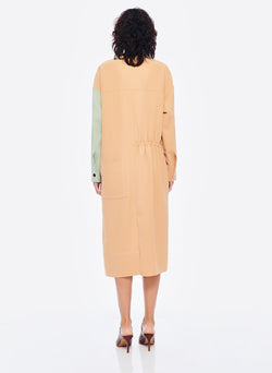 Drape Twill Colorblock Dress Light Burlywood/Pistachio Multi-3