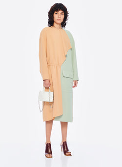 Drape Twill Colorblock Dress Light Burlywood/Pistachio Multi-4