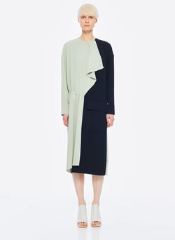 Drape Twill Colorblock Dress Pistachio/Black Multi-8