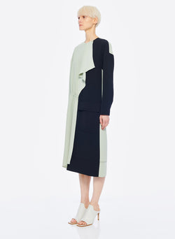Drape Twill Colorblock Dress Pistachio/Black Multi-9