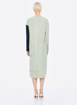 Drape Twill Colorblock Dress Pistachio/Black Multi-10
