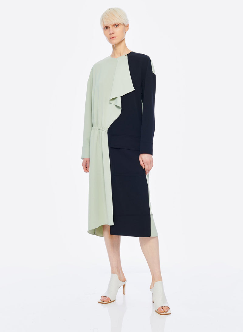 Drape Twill Colorblock Dress Pistachio/Black Multi-13