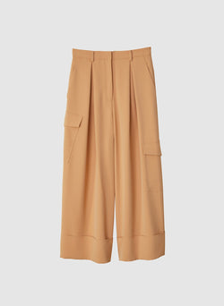 Drape Twill Pleated Cargo Pant Light Burlywood-7
