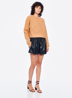 Faux Leather Pull On Shorts Black-4