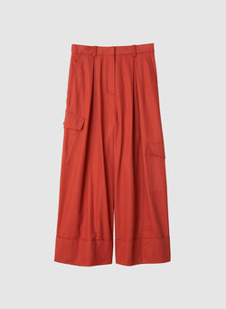 Harrison Chino Pleated Cargo Pant Dusty Red-7