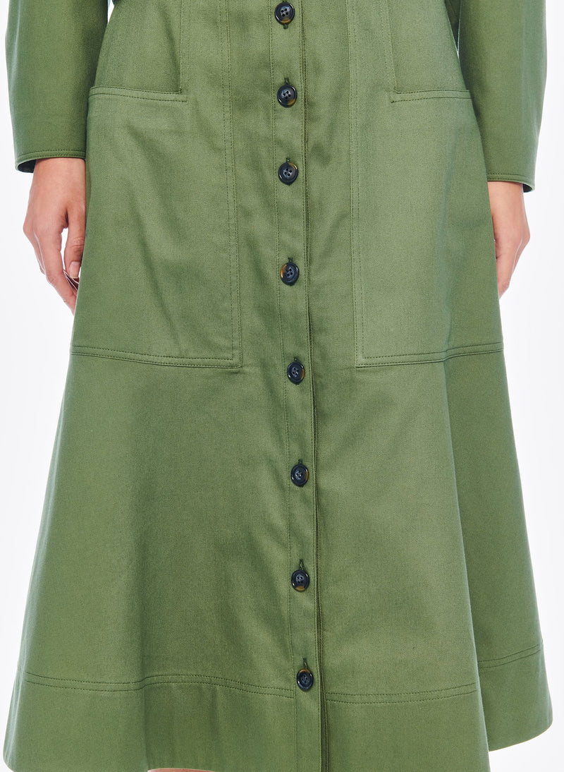 Harrison Chino Patch Pocket Skirt Army Green-5