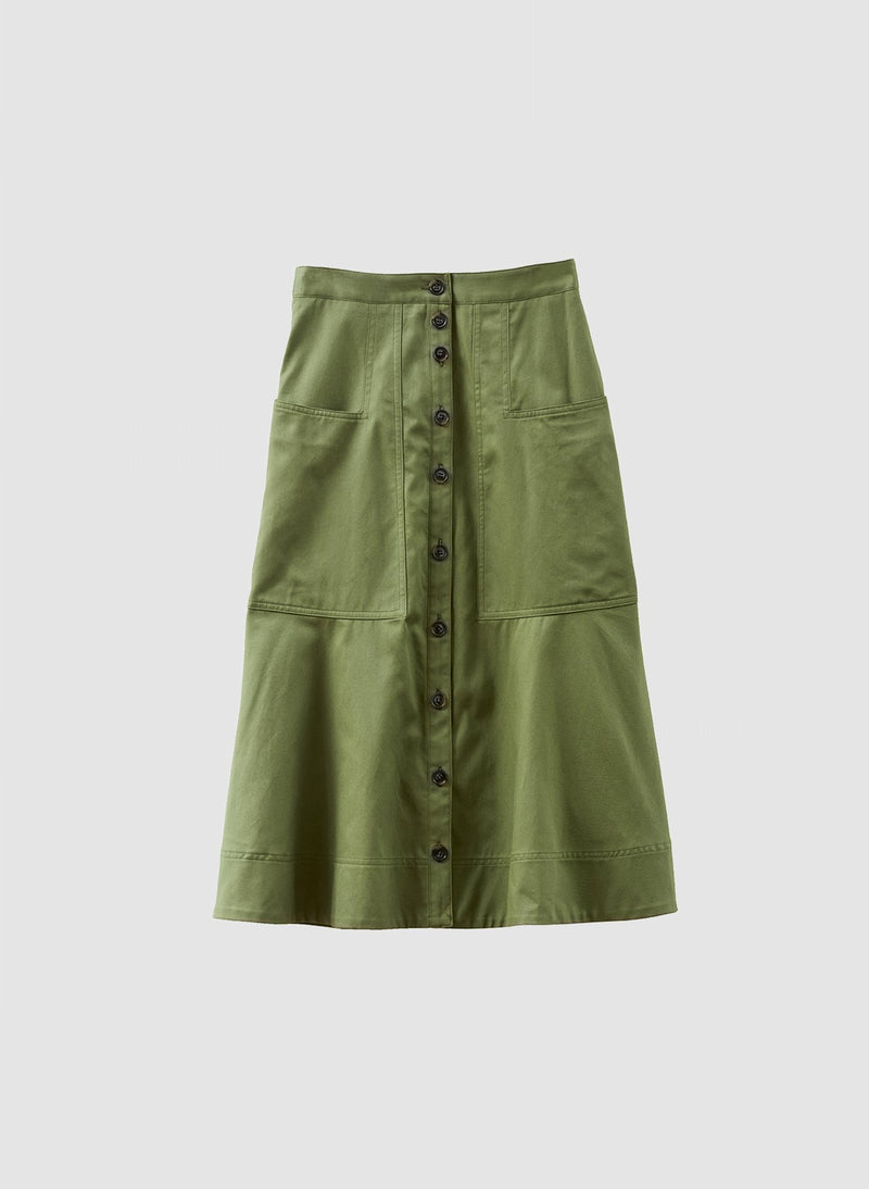 Harrison Chino Patch Pocket Skirt Army Green-7