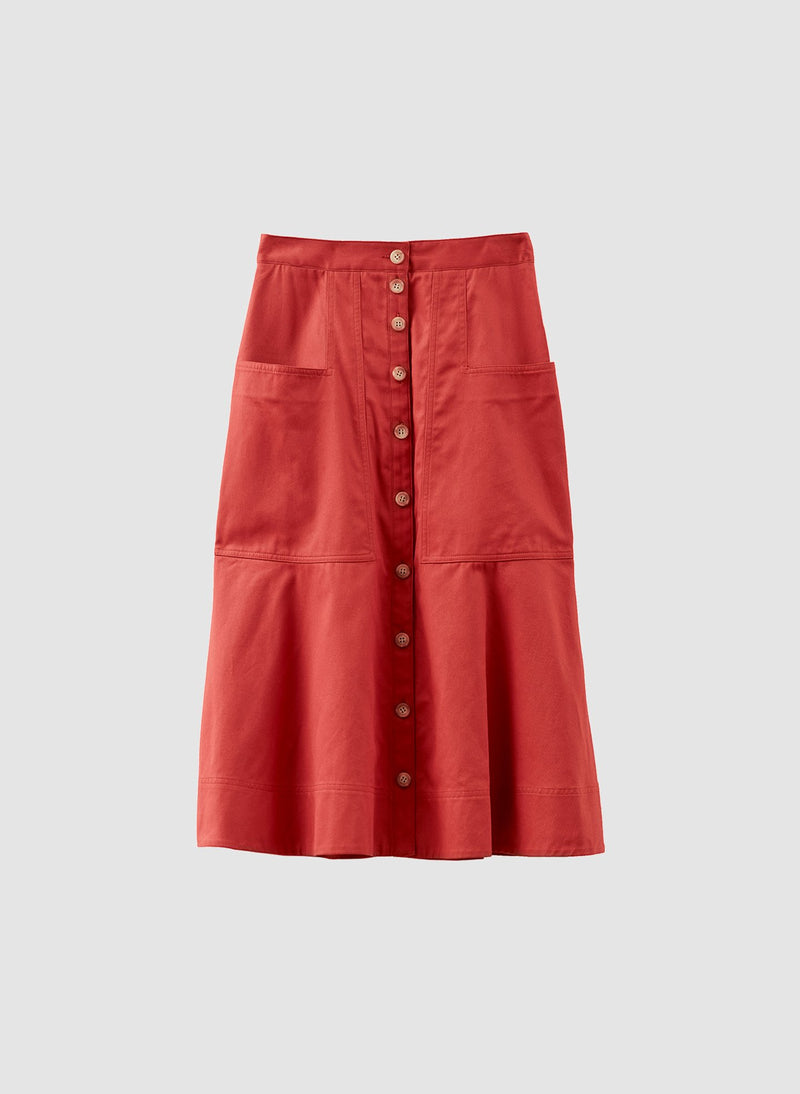 Harrison Chino Patch Pocket Skirt Dusty Red-14
