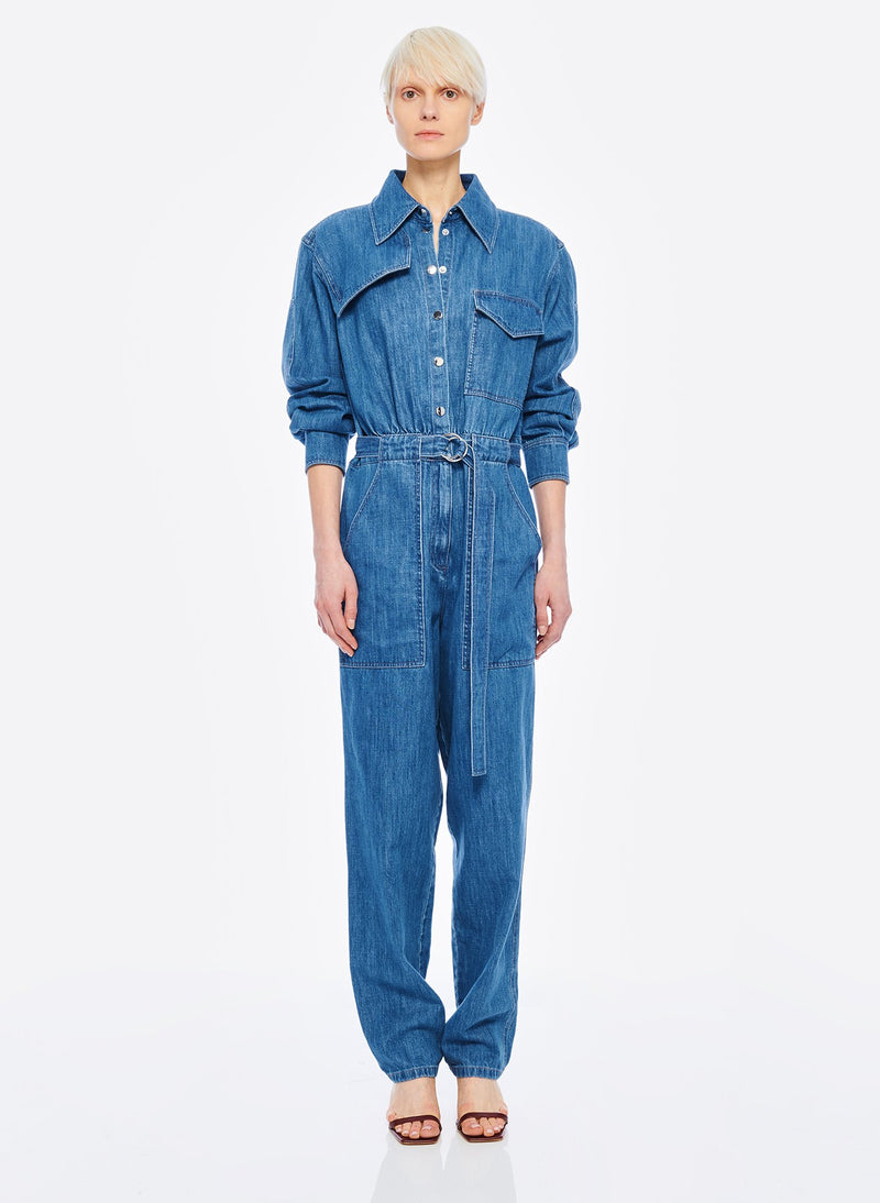 Stone Enzyme Denim Jumpsuit Stone Wash-1