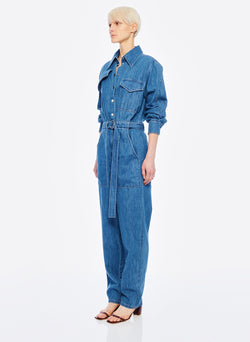 Stone Enzyme Denim Jumpsuit Stone Wash-2