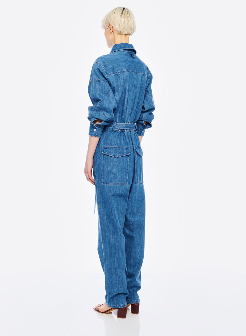 Stone Enzyme Denim Jumpsuit Stone Wash-3