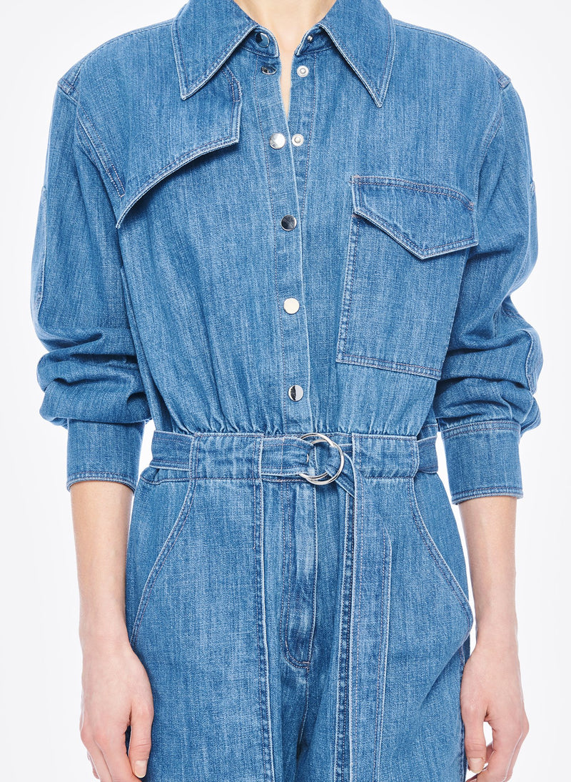 Stone Enzyme Denim Jumpsuit Stone Wash-4