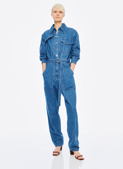 Stone Enzyme Denim Jumpsuit Stone Wash-5