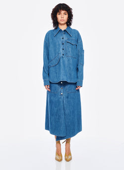 Stone Enzyme Denim Oversized Cocoon Shirt Stone Wash-1