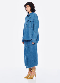 Stone Enzyme Denim Oversized Cocoon Shirt Stone Wash-2