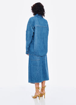Stone Enzyme Denim Oversized Cocoon Shirt Stone Wash-3
