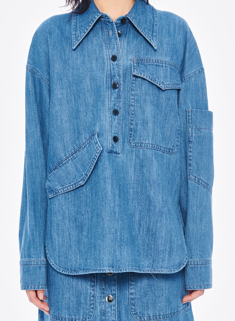 Stone Enzyme Denim Oversized Cocoon Shirt Stone Wash-4