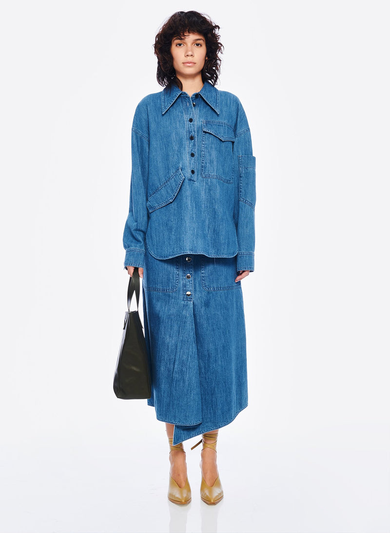 Stone Enzyme Denim Oversized Cocoon Shirt Stone Wash-5