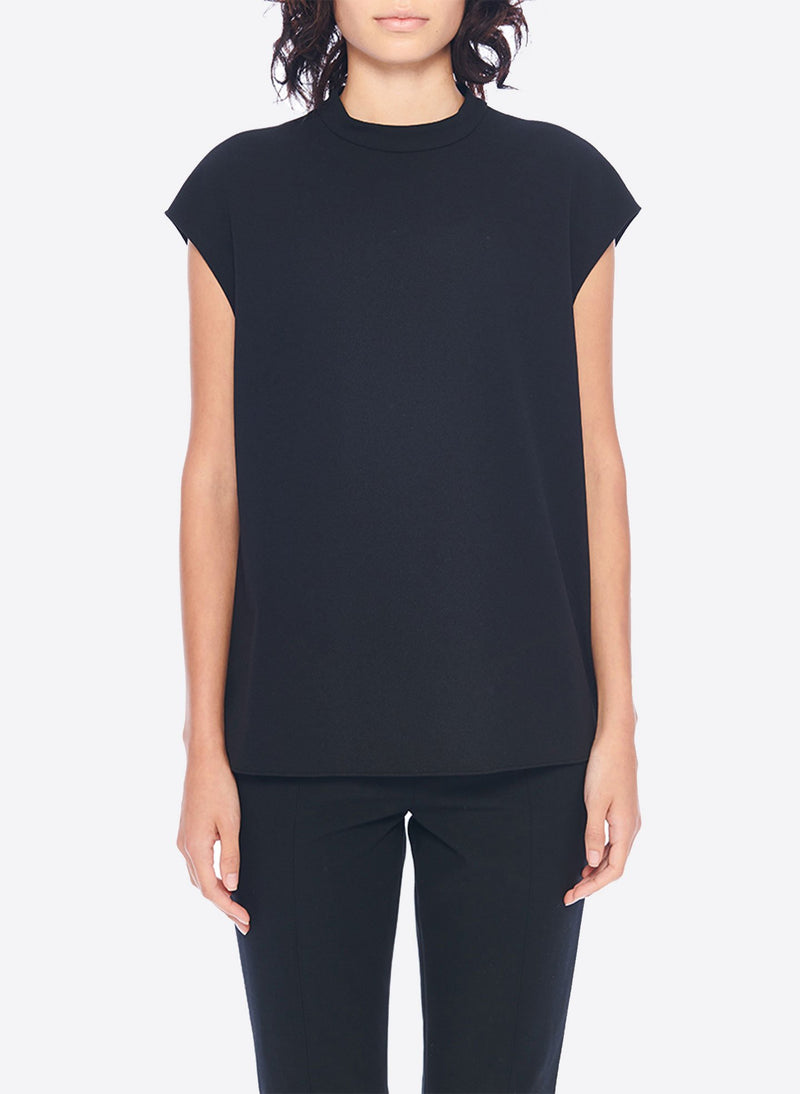Structured Crepe Sleeveless Top Black-1