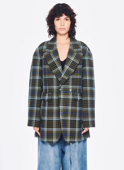 Spencer Plaid Sculpted Blazer Army Green Multi-1