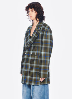 Spencer Plaid Sculpted Blazer Army Green Multi-2