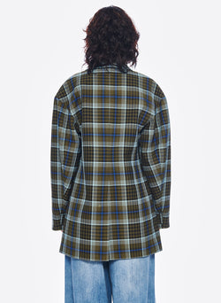 Spencer Plaid Sculpted Blazer Army Green Multi-3