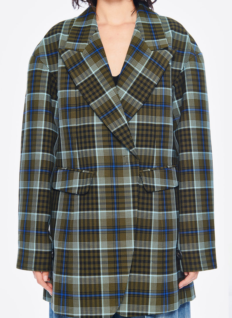 Spencer Plaid Sculpted Blazer Army Green Multi-5