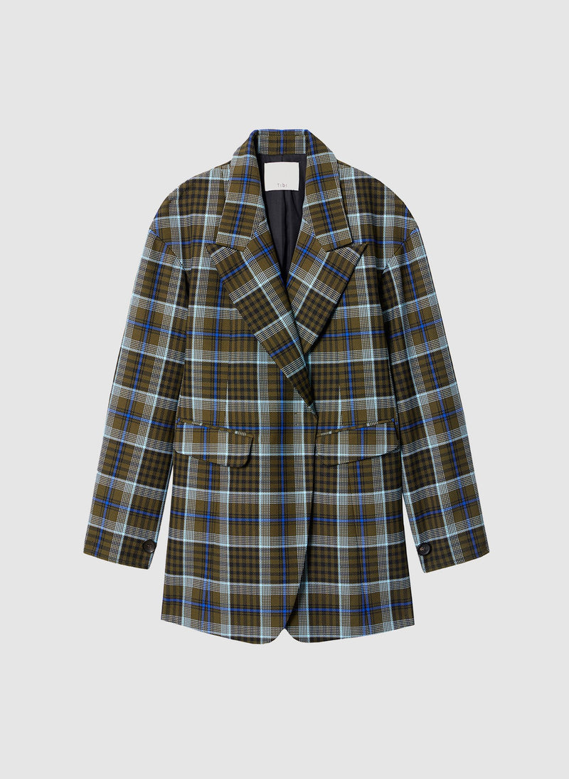 Spencer Plaid Sculpted Blazer Army Green Multi-7