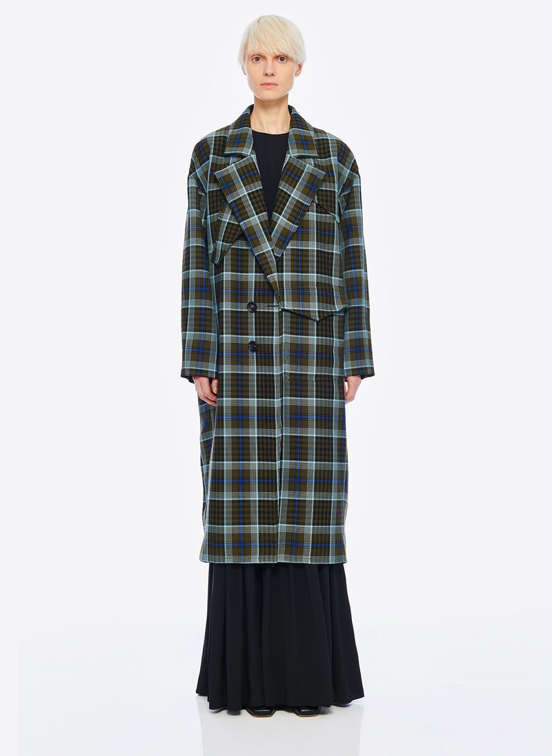 Spencer Plaid Cocoon Shape Maxi Coat Army Green Multi-1